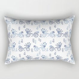 Bicycles spring cute white and navy pattern bike print by andrea lauren Rectangular Pillow