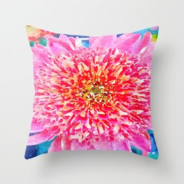 Pink Watercolor Flower Throw Pillow