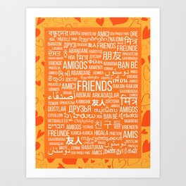 "The word ""Friends"" in different languages of the world on an orange background with hearts Art Print"