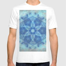 Wispy fairy kaleidoscope in blue MEDIUM Mens Fitted Tee White