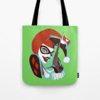 harley quinn Tote Bags featuring Harley Quinn by Piano Bandit