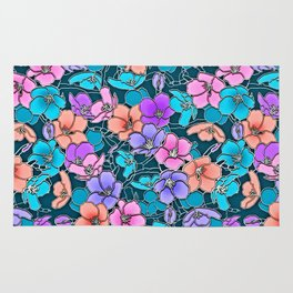 Modern abstract teal coral pink navy blue floral Rug
