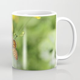 Small pearl-bordered fritillary and buttercups Coffee Mug