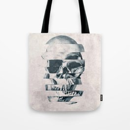 Glitch Skull Mono Tote Bag