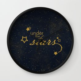 Under the stars- sparkling gold glitter night typography Wall Clock