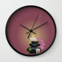 Pebbles with orchid Wall Clock