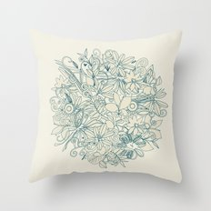 Denim flower circle Throw Pillow