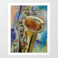 saxophone Art Prints featuring Saxophone by Michael Creese