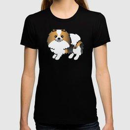 Hound Tricolor Pomeranian Dog Cute Cartoon Illustration T-shirt