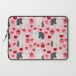 Old English Sheepdog valentines day hearts cupcakes pattern pet portrait dog art gifts love Laptop Sleeve