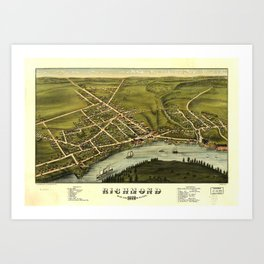 Aerial View of Richmond, Maine (1878) Art Print