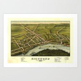 Aerial View of Richmond, Maine (1878) Art Print