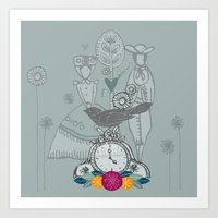 folk Art Prints featuring Folk by karyn johnstone