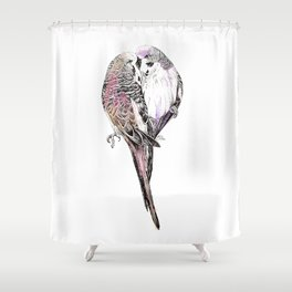 Pink Budgies Shower Curtain