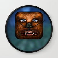 chewbacca Wall Clocks featuring Chewbacca by Michael Flarup