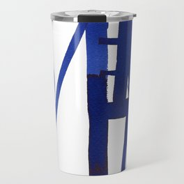 Blue grid -abstract minimalist ink painting Travel Mug