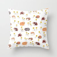 pigs Throw Pillows featuring Guinea Pigs by jo clark