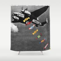 eugenia loli Shower Curtains featuring Candy Bomber by Eugenia Loli