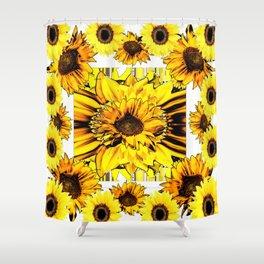 GOLDEN-BROWN YELLOW SUNFLOWERS MODERN ABSTRACT Shower Curtain