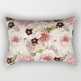 Small Vintage Peony and Ipomea Pattern - Smelling Dreams Rectangular Pillow