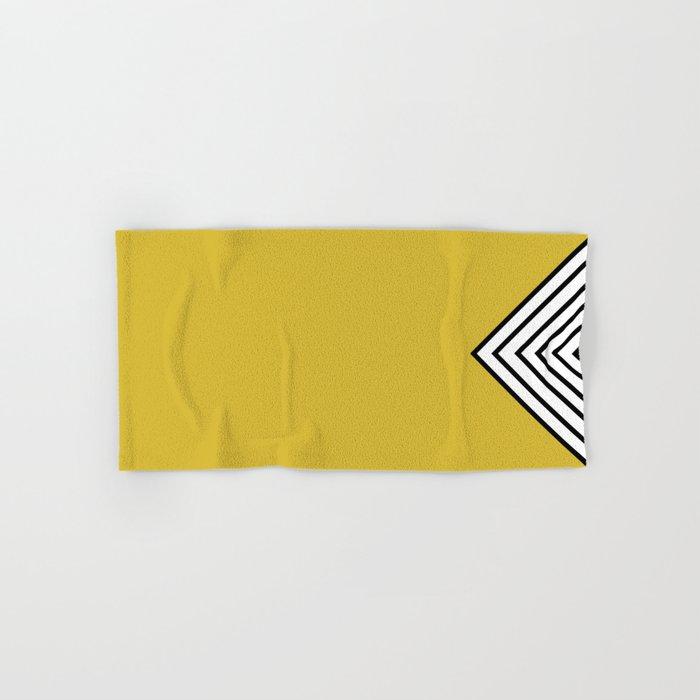 Mustard Black And White Stripes Hand Bath Towel By Marilenaxiari