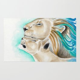 Two Lions Watercolor Art Rug