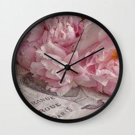 Paris Peonies Wall Clock