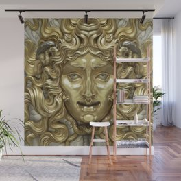 """""""Ancient Golden and Silver Medusa Myth"""" Wall Mural"""
