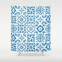 spanish Shower Curtains featuring Spanish Tiles by Morris & Essex
