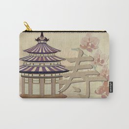 Pagoda Rose Oriental Mixed Media Carry-All Pouch