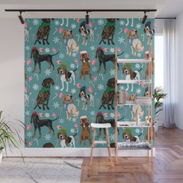 Holiday Decorations Teal Wall Mural