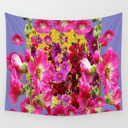 BLUE-GREY PINK HOLLYHOCKS GARDEN PARTY Wall Tapestry