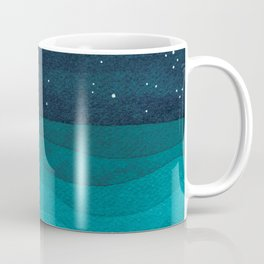 Boy with paper boats, watercolor teal art Coffee Mug