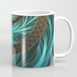 Beautiful Corded Leather Turquoise Fractal Bangles Coffee Mug