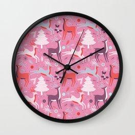 Christmas Deers Wall Clock