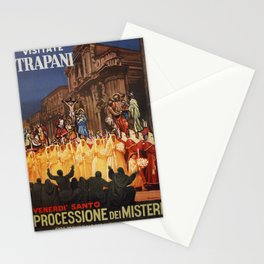 Italian travel ad Christian Easter procession Trapani Stationery Cards