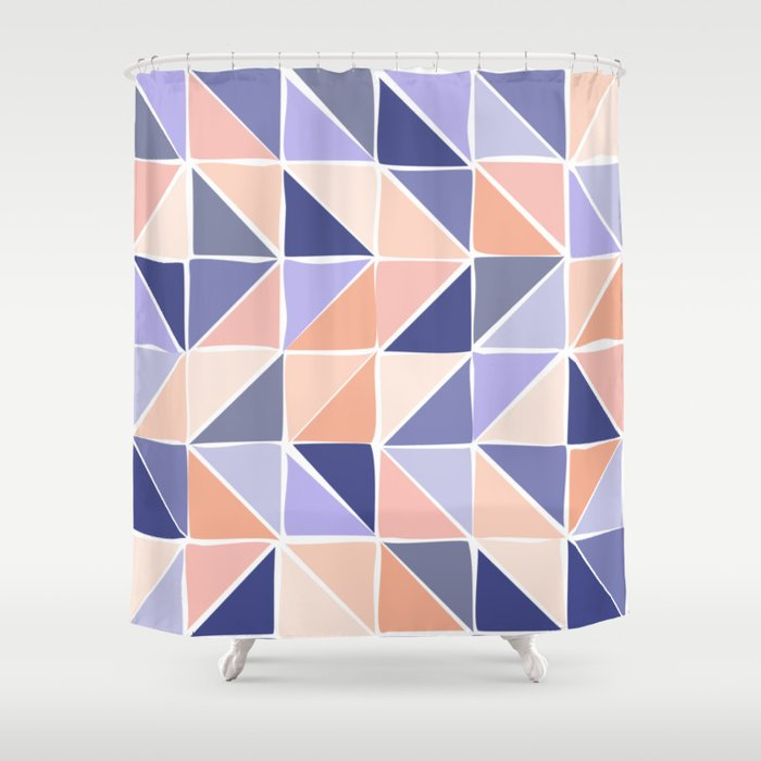 Triangle Geometry in Purple and Coral Shower Curtain