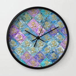 Golden OM symbol on Pastel Watercolor pattern Wall Clock