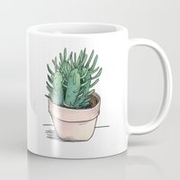 succulent Mugs featuring succulent  by lottie pencheon