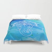 hindu Duvet Covers featuring Untitled (Elephant) by AriesArtNW.com