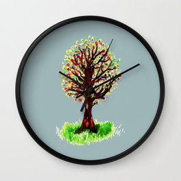 Grunge sketch of tree Wall Clock