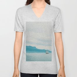 Modern Minimalist Landscape Ocean Pastel Blue Mountains With White Sail Boat Unisex V-Neck