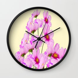 PINK COSMOS GARDEN FLOWERS ON CREAM COLOR Wall Clock