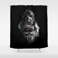pilot Shower Curtains featuring Pilot 02 by Rafal Rola