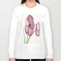 burgundy Long Sleeve T-shirts featuring Burgundy Poppies by trabie