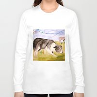 border collie Long Sleeve T-shirts featuring Border Collie by Caballos of Colour