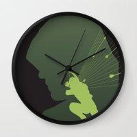 green arrow Wall Clocks featuring Arrow by Frank DeAngelo