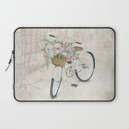 Vintage bicycles with roses basket Laptop Sleeve