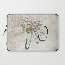 Vintage bicycles with roses basket Laptop Sleeve