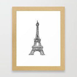 Eiffel Tower Graphic Pen Sketch Framed Art Print